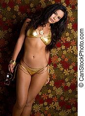 Sexy Bikini Woman - Sexy latina gold bikini woman