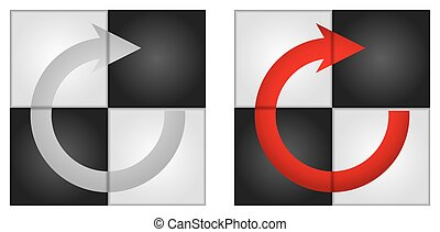 Circle arrows with abstract pattern