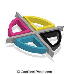 CMYK registration mark - vector typography sign