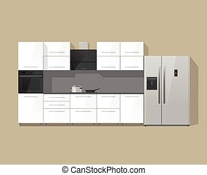 Kitchen furniture cabinets interior vector illustration isolated on color background