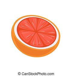 Juicy Grapefruit. Vector isolated on white background.