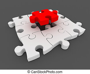 3d puzzle concept on gray background
