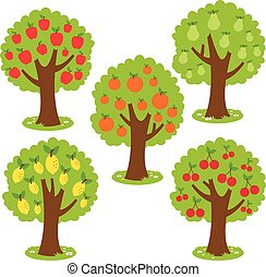 Fruit trees - Vector Illustration set of fruit orchard...