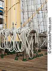 Details of a sailboat decks equipment - Details of a sailing...