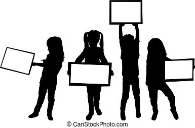 Silhouettes of children with pieces of paper.
