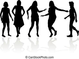 Beautiful women dancing. White background.