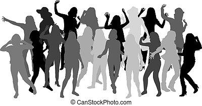 Beautiful women dancing.White background.