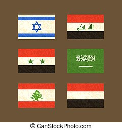 Flags of Israel, Iraq, Syria, Saudi Arabia, Lebanon and Yemen