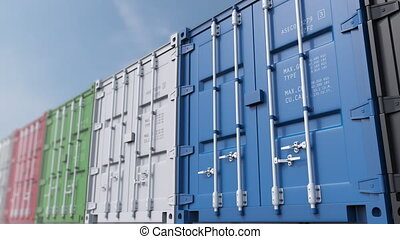 Infinite dolly shot of colored cargo containers against blue...