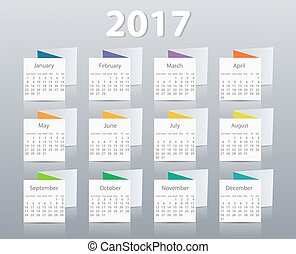 Calendar 2017 year vector design template. EPS10
