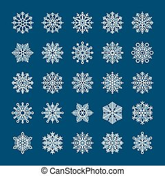 Snowflakes set for winter holiday invitations