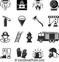 Firefighter black icons. Fireman and fire equipment, alarm...