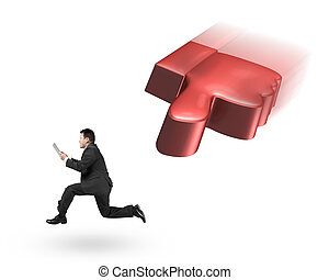 Flying 3D thumb down chasing man holding tablet, isolated on...