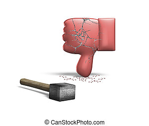 Red thumb down with hammer, 3D rendering, isolated on white...