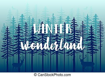 Blue winter forest, vector