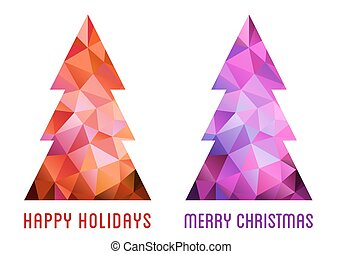 Colorful Christmas trees, vector