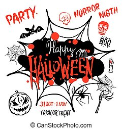 Halloween party. Happy Halloween message design background. Vector illustration EPS 10