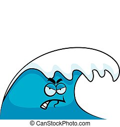 Angry Wave - A cartoon ocean wave with an angry expression