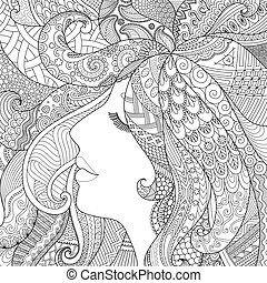 Sleep well - zendoodle design of girl sleeping with shadow...