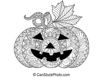 Halloween pumpkin - Doodle design of Halloween pumpkin for...