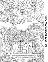 Hut in the forest - Zendoodle design of small hut in the...