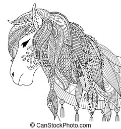 Horse - Zendoodle design of horse for adult coloring book...