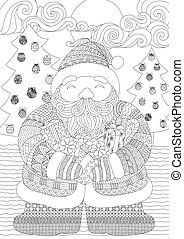 Santa - Zendoodle design of Santa clause holding gift boxes...