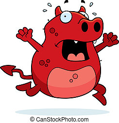 Devil Panic - A cartoon devil running in a panic.