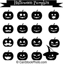 Cute halloween pumpkin emoji icons set. Emoticons, stickers, design elemets, isolated black silhouettes