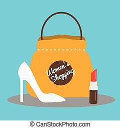 Women's shopping concept vector illustration with fashion shoes, bag and lipstick