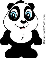 Baby Panda - A cartoon baby panda bear cub smiling and happy...