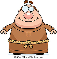 Monk Smiling - A happy cartoon monk standing and smiling.