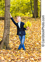 Boy with autumn leaves in the park