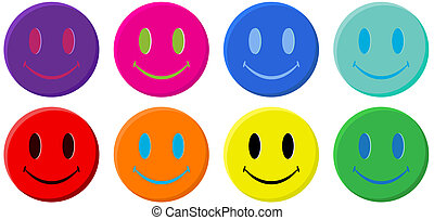 Classic Smiley Face - Classic smiley face in 8 colors...