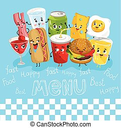 Funny drink and food characters cartoon isolated