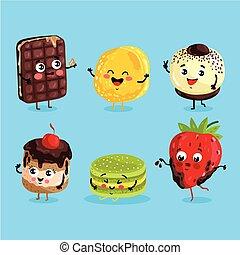Funny sweet food characters cartoon isolated
