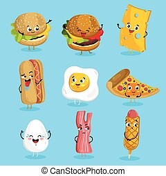 Funny fast food characters cartoon isolated