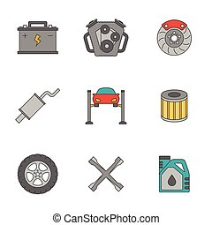 Auto service flat line icons. Car repair service icons
