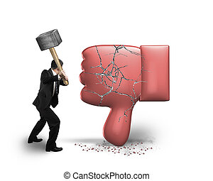 Businessman holding hammer hitting dislike thumb down mark...