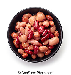 Bowl of canned beans from above - Various types of canned...