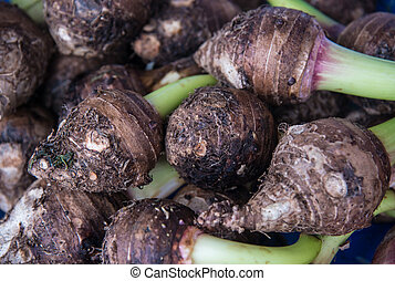 pile of taro root. - Taro root is a plant commonly used in...