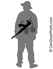 Modern soldier on white - Modern soldiers in uniform on a...