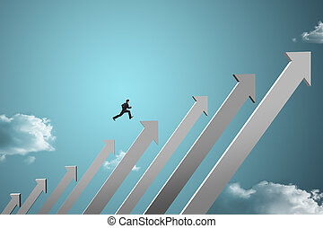 businessman jumping on chart