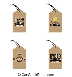 Cyber Monday sale - abstract cybermonday labels on a white...