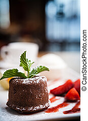 Chocolate fondant with ice cream - Chocolate fondant with a...