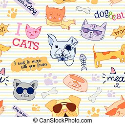 Seamless pattern with cats and dogs. Funny, beautiful, cute. Vector.