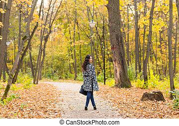 hermoso, concepto, -, otoño, niña, calle, bastante, retrato,...