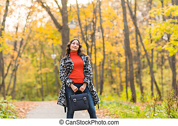 hermoso, concepto, -, otoño, niña, calle, Primer plano,...
