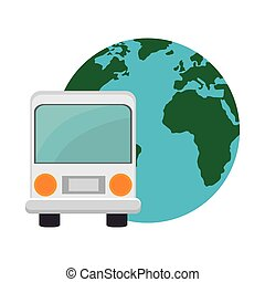 bus and earth planet - bus transportation vehicle and earth...