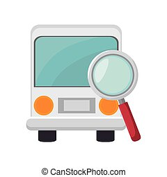 bus and magnifying glass - bus transportation vehicle and...